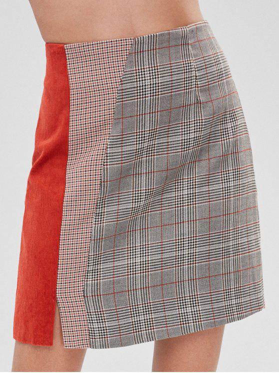 best Plaid Corduroy Insert Mini Skirt - MULTI S