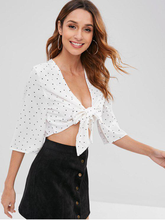hot Tie Front Polka Dot Top - WHITE M