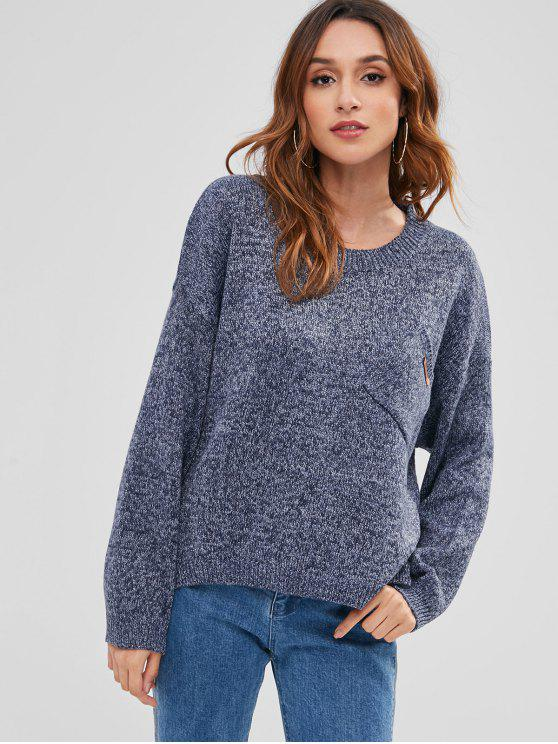 outfits Drop Shoulder High Low Hem Sweater - SLATE BLUE ONE SIZE