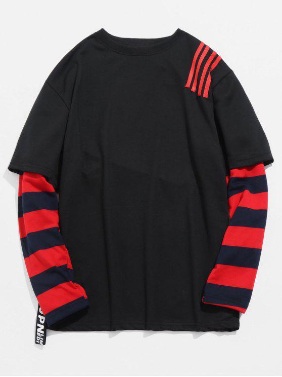 fashion Striped False Two Piece T-shirt - BLACK 2XL