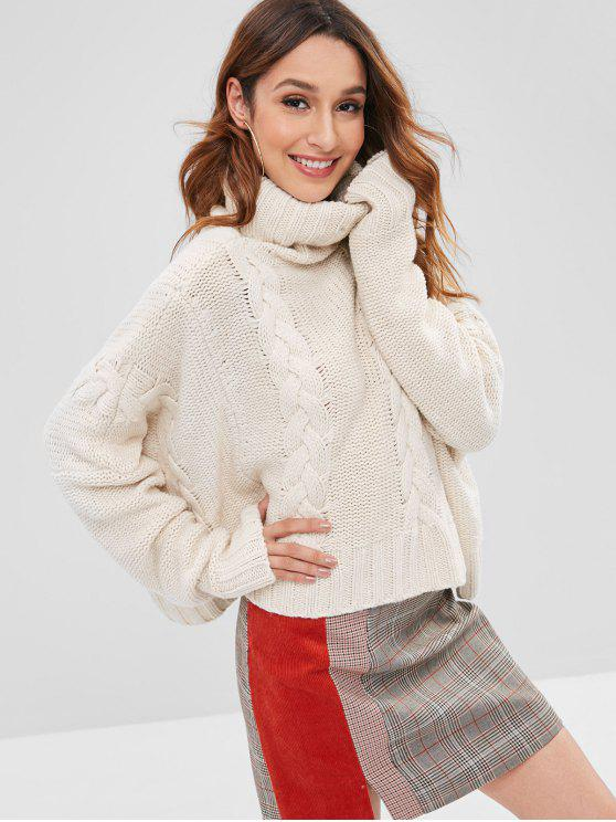ladies Cable Knit Chunky Turtleneck Sweater - CRYSTAL CREAM ONE SIZE