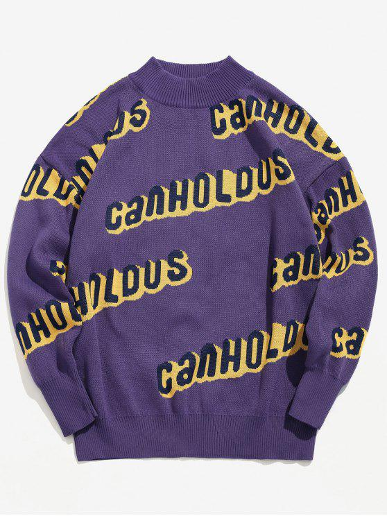 hot Crew Neck Letter Knit Sweater - PURPLE AMETHYST M