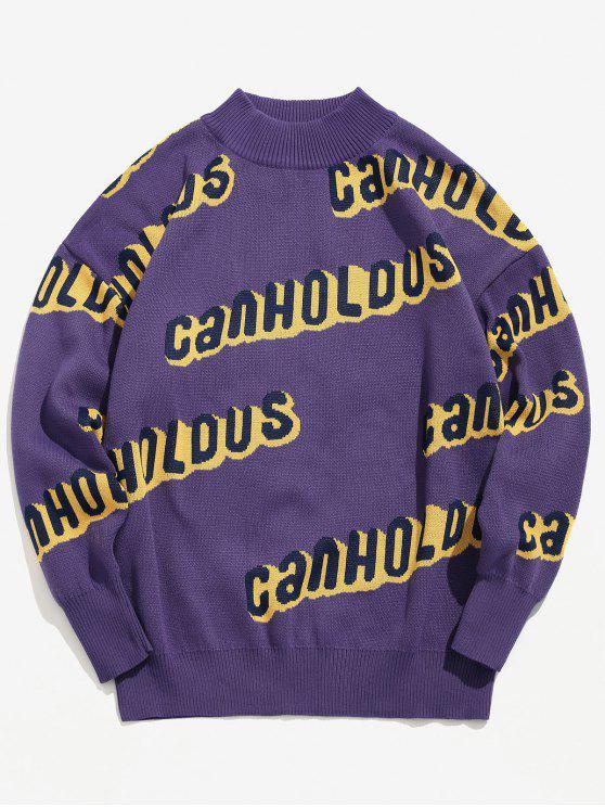 Pull en Tricot Lettre à Col Rond - Violet Améthyste M