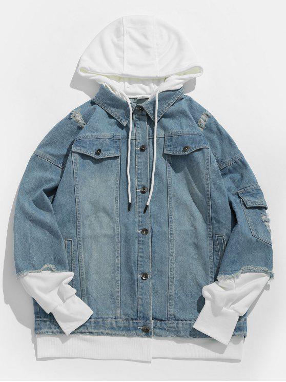 shops False Two Piece Hooded Denim Jacket - DENIM BLUE M