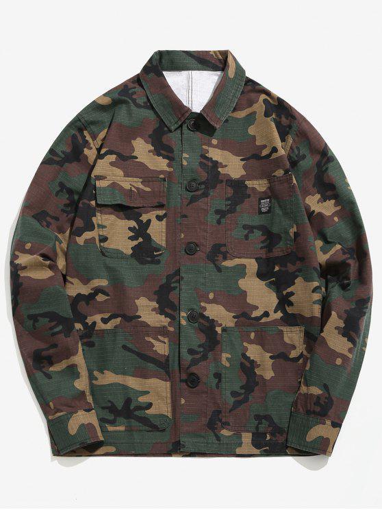 latest Camo Pockets Button Shirt Jacket - ACU CAMOUFLAGE M