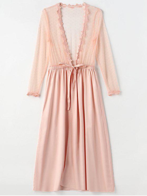 Robe de lingerie longue en satin tulle devant - Rose  Taille Unique