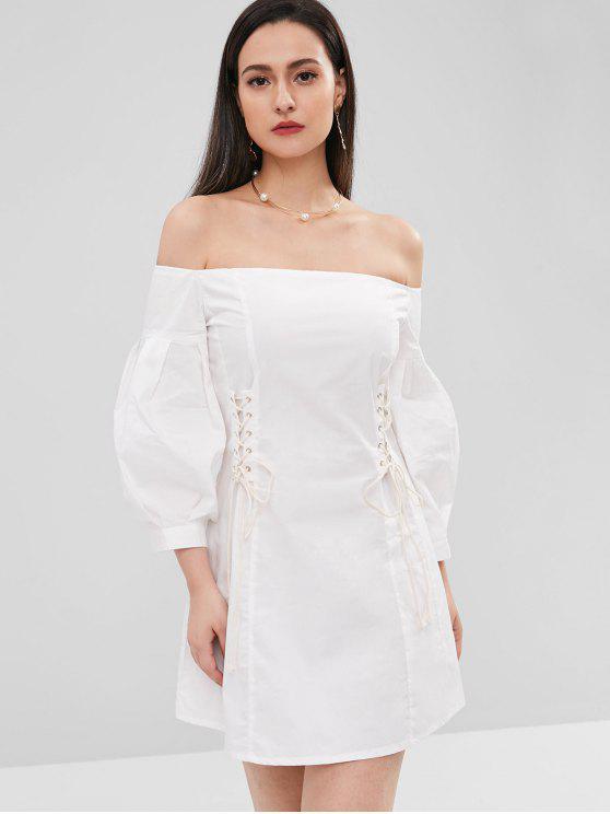 shop Lace-up Non-slip Off The Shoulder Dress - WHITE L