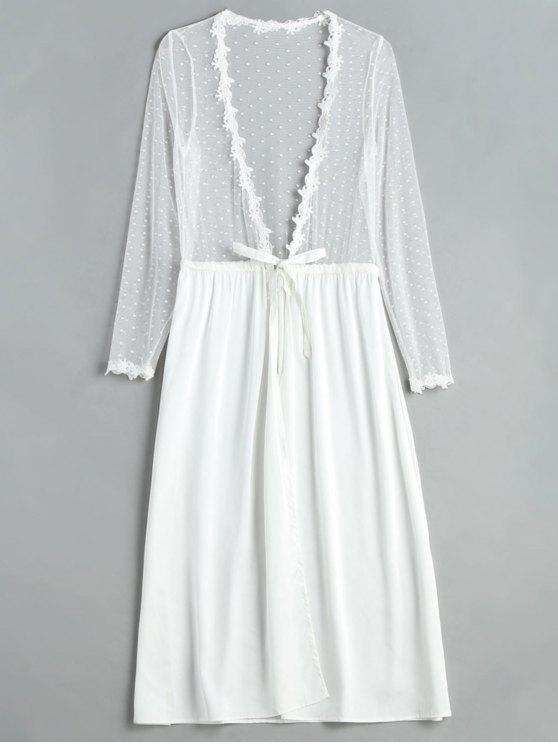 Robe de lingerie longue en satin tulle devant - Blanc Taille Unique