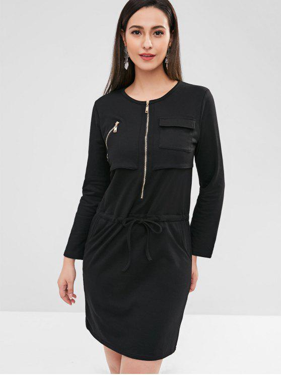 chic Half Zip Pocket Dress - BLACK M