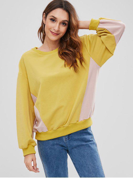 women's Drop Shoulder Color Block Sweatshirt - YELLOW ONE SIZE