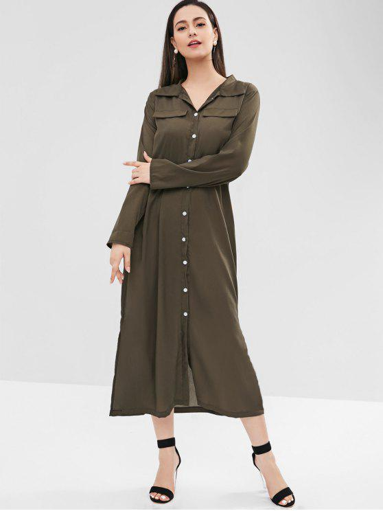 new Button Up Faux Pockets Shirt Dress - ARMY GREEN XL