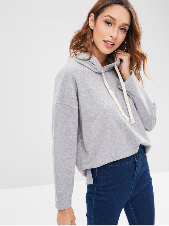 shop High Low Drop Shoulder Drawstring Hoodie - GRAY ONE SIZE