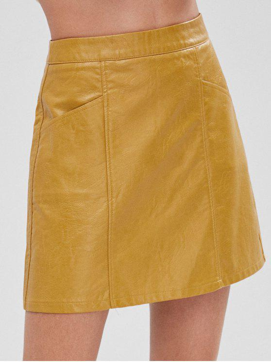 womens Faux Leather Pocket Mini Skirt - GOLDEN BROWN L