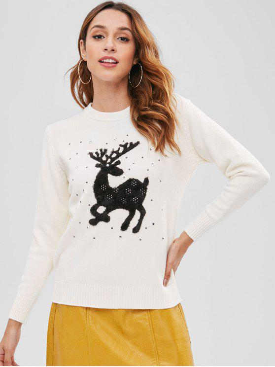 chic Rhinestone Elk Christmas Sweater - BEIGE ONE SIZE