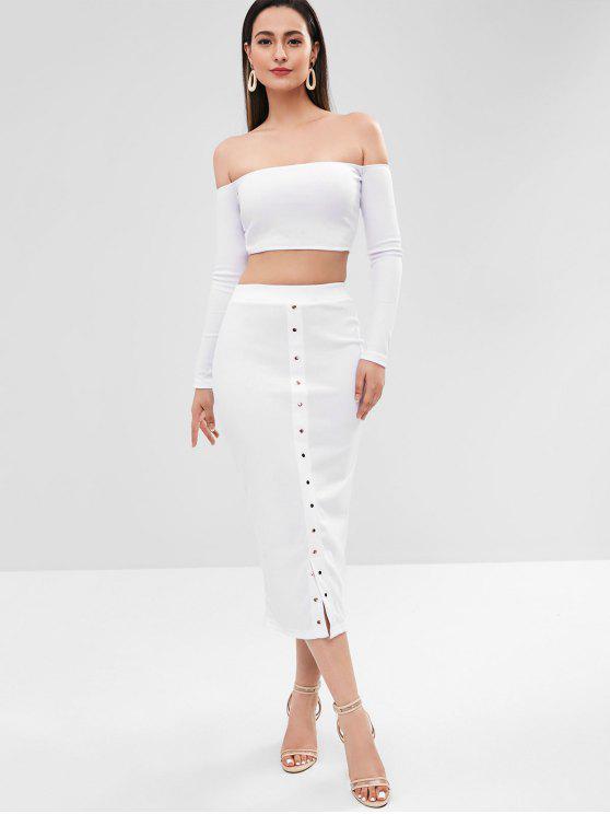 shop Ribbed Off Shoulder Buttoned Skirt Set - WHITE L