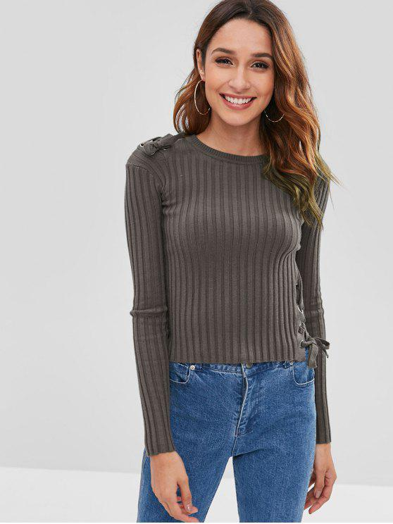 sale Ribbed Lace Up Fitted Sweater - DARK GRAY ONE SIZE