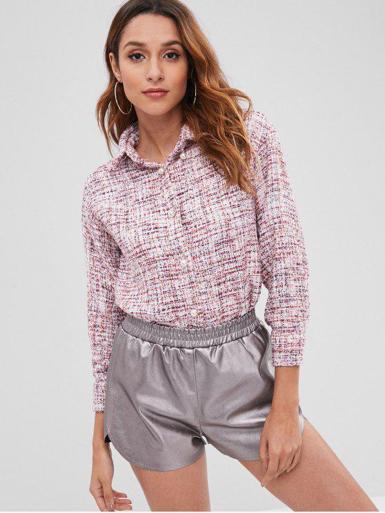new High Low Tweed Shirt - MULTI M