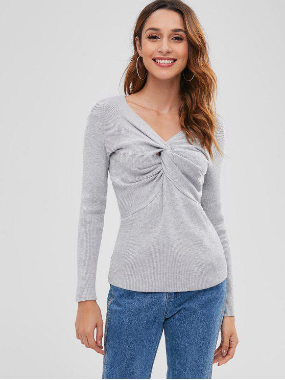 outfits V Neck Twisted Sweater - LIGHT GRAY ONE SIZE