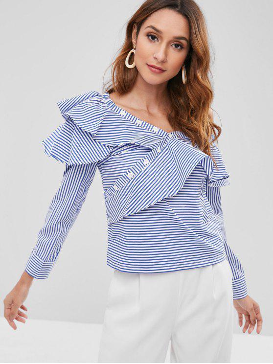fashion Striped Ruffle Skew Neck Blouse - SAPPHIRE BLUE S