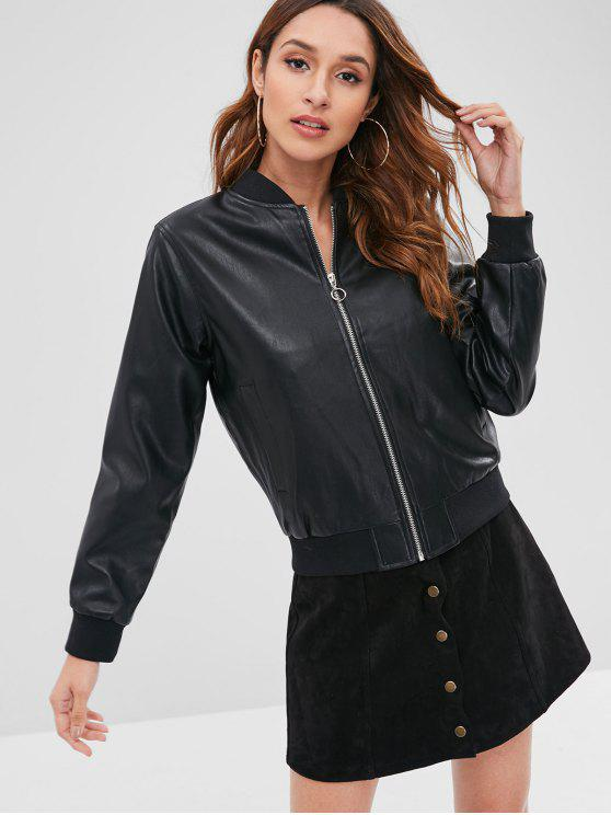 sale Zipper Faux Leather Jacket - BLACK M