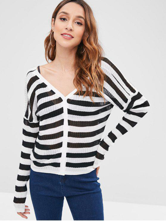 outfits Thin Striped Cardigan - MULTI ONE SIZE