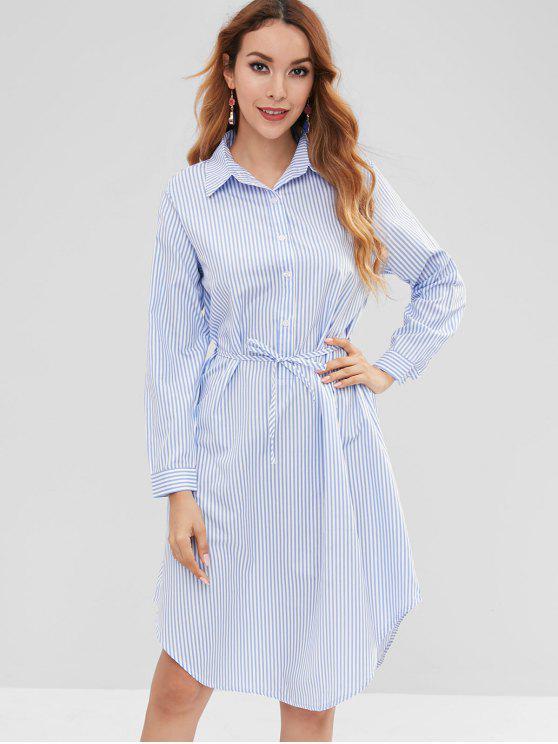 Vestido de camisa de meio botão listrado - Multi M