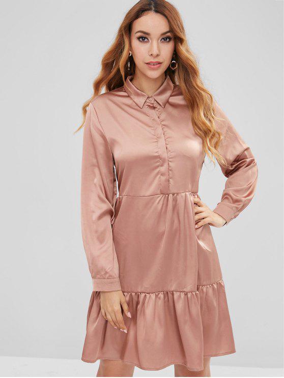 online Buttons Flounce Shirt Dress - CHAMPAGNE M