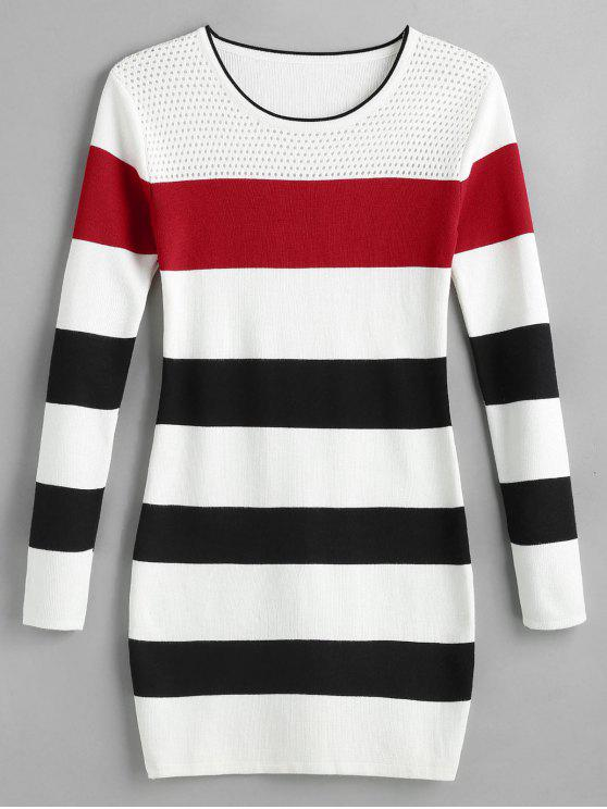 new Color Block Striped Mini Sweater Dress - MULTI-A ONE SIZE