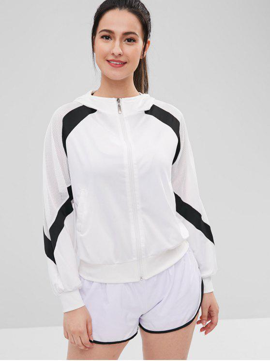 women Mesh Insert Raglan Sleeve Zipper Jacket - WHITE L