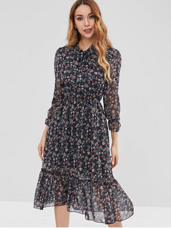abe5e9dcd8 33% OFF] 2019 Tie Ruffle Tiny Floral Midi Dress In MULTI | ZAFUL