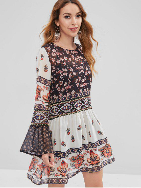 hot Textured Floral Flare Sleeve Dress With Cami Top - MULTI S