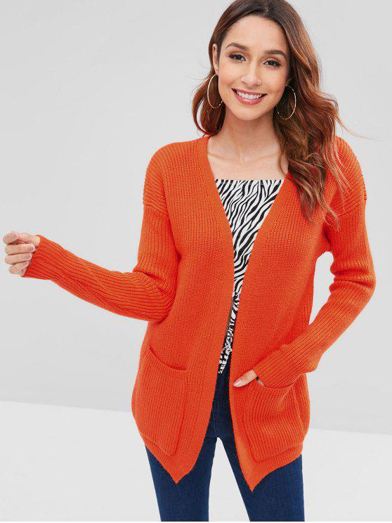 shop Patched Pockets Open Front Cardigan - ORANGE ONE SIZE