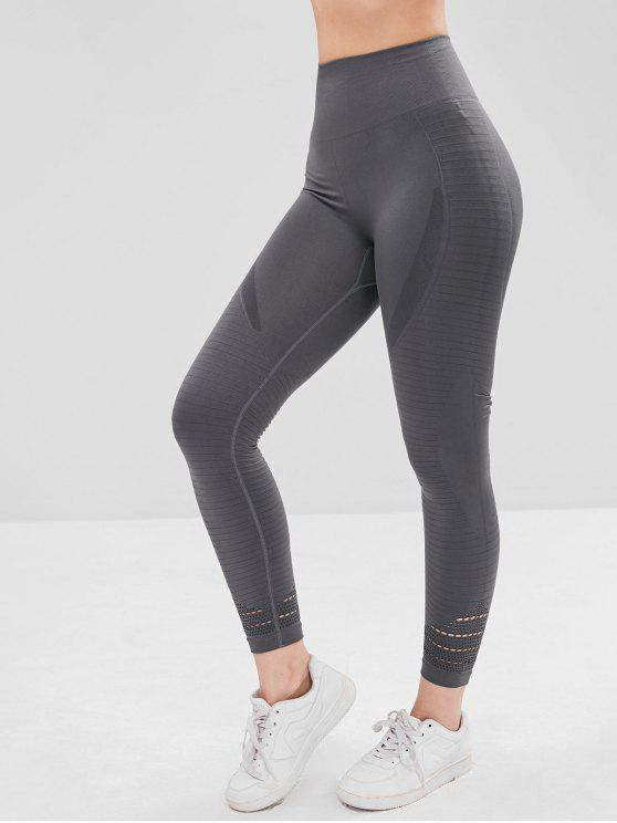 Hollow Out Capri Sports Leggings   Dark Gray Xl by Zaful