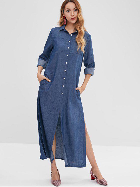 Vestido Maxi de Bolsos com Abertura Alta - Azul Escuro de Denim  S