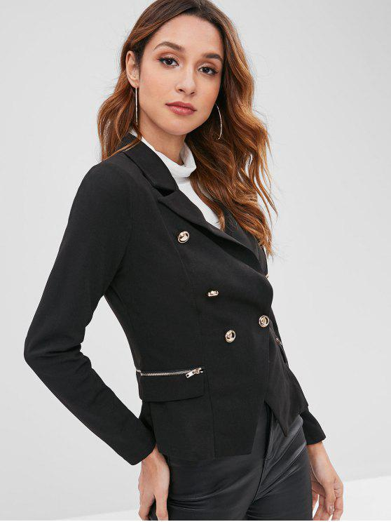 womens Zippered Double Breasted Blazer - BLACK M