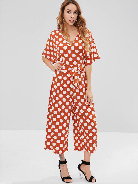 outfits Polka Dot Wide Leg Jumpsuit - ORANGE SALMON L