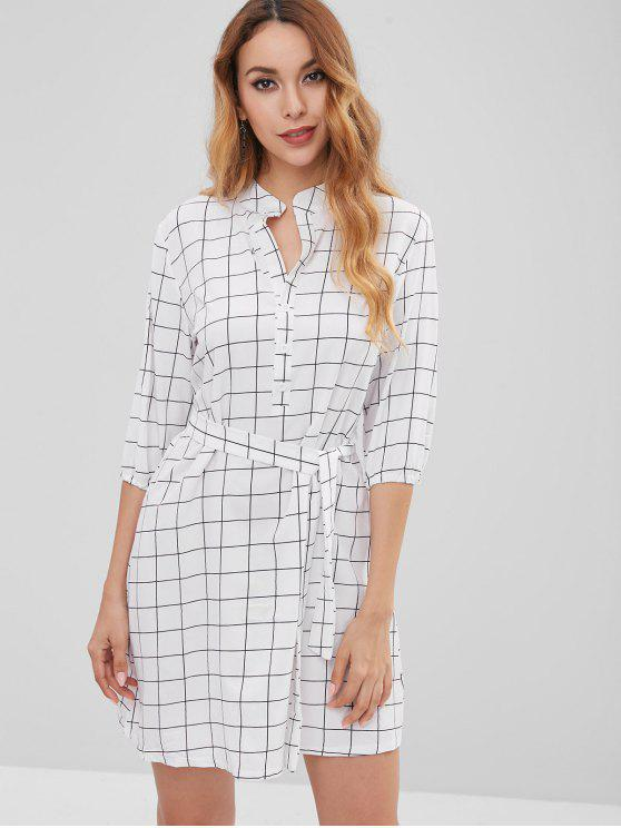 unique Mini Plaid Dress - WHITE M