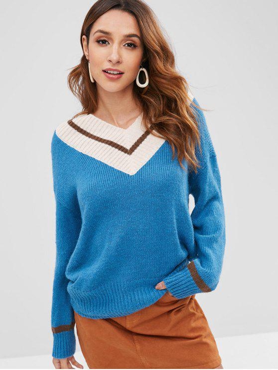 lady Casual Color Block V-neck Pullover - PEACOCK BLUE ONE SIZE