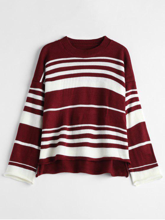 11f2060d4 27% OFF  2019 Curly Trim Stripe Sweater In RED WINE
