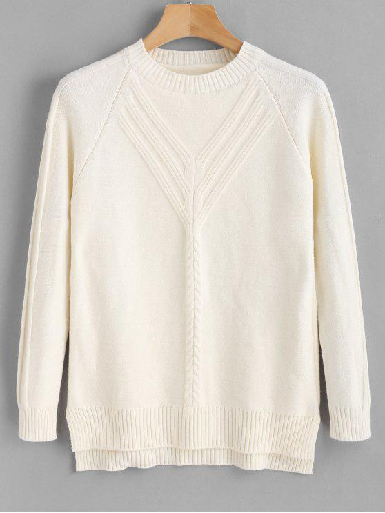 outfits Cable Knit Crewneck Sweater - WHITE ONE SIZE