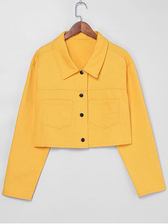 womens ZAFUL Snap Button Pockets Jacket - BRIGHT YELLOW XL