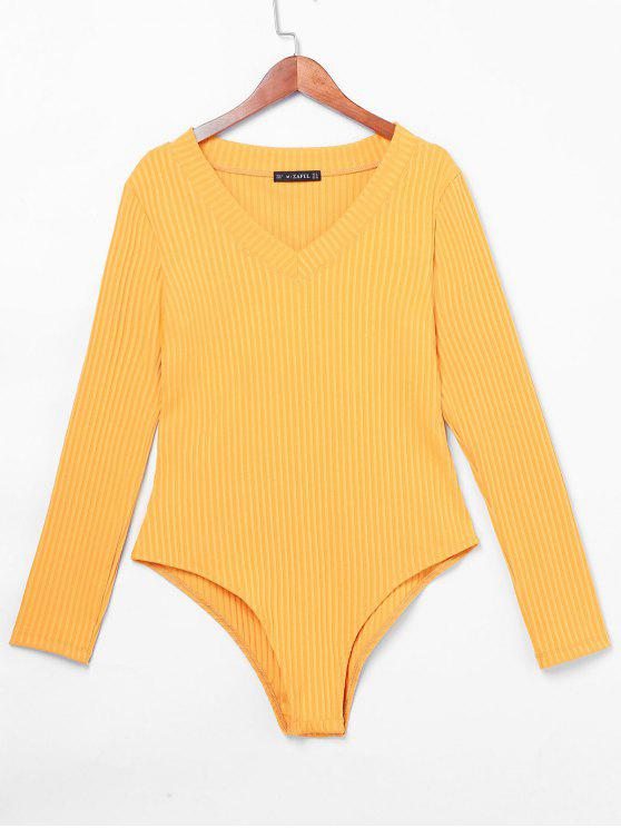 Zaful V Neck Ribbed Bodysuit   Mustard Xl by Zaful