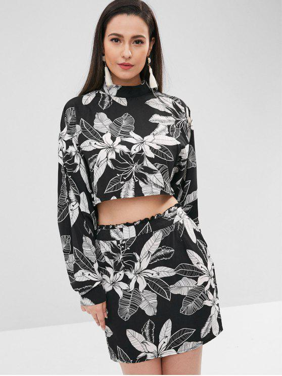 fancy ZAFUL Dolman Sleeves Top and Floral Skirt Set - BLACK S