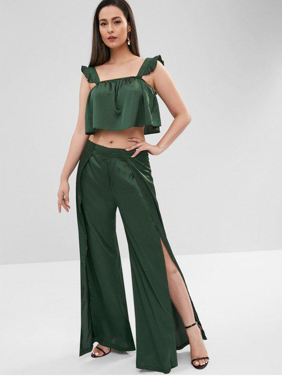 women's ZAFUL Sleeveless Top and Slit Pants Set - DEEP GREEN XL