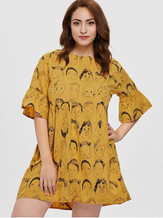 Plus Size Mini Printed Dress ORANGE GOLD