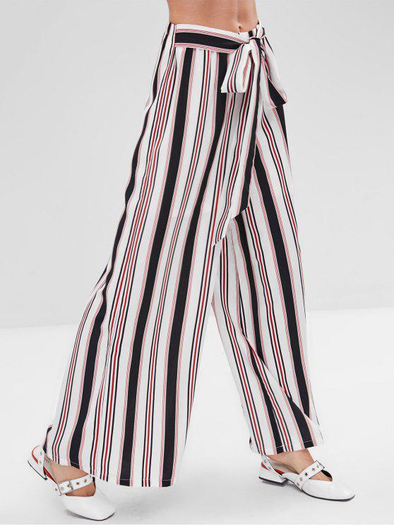 shop ZAFUL Knotted Striped Wide Leg Pants - MULTI M