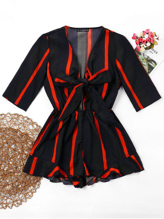 chic ZAFUL Striped Knotted Loose Romper - BLACK S