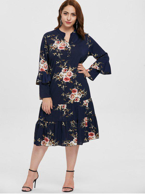 womens Plus Size Floral Dress with Flounce - CADETBLUE 1X