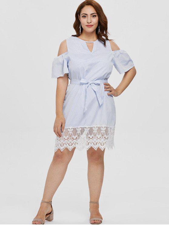affordable Plus Size Lace Insert Striped Cold Shoulder Dress - MULTI 2X