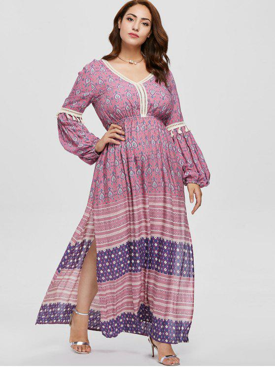 Plus Size Long Sleeve Tassel Boho Dress MULTI